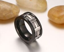 Men Black Color Cross Charming Wedding Wear Stainless Steel Ring