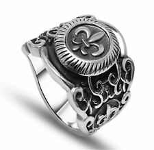 Women Fashion Vintage Stainless Steel Black Color Silver Plated Ring
