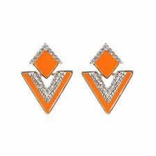 Women Gold Silver Color Plated Triangle Shaped Crystal Decorated Stud Earring