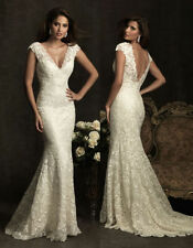 Stock White/Ivory lace V Neck Mermaid Wedding Dress Bridal ball Gown Size 6-18