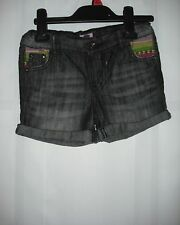 BNWOT F&F Black Denim Shorts with Tribal Trim.  Girls.  Age 6-14 Years