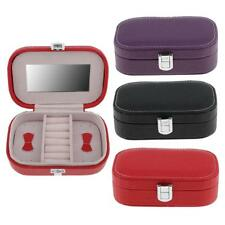 PU Leather Portable Travel Earring Ring Jewelry Box Case Storage Gift with Glass