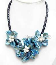 SALE Baroque Blue Shell Flower and Pearl pendant Black Rope 18'' Necklace-n6334