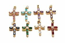 Gold Plated Cross Pendant Crystal Link Chain Charm Necklace For Women