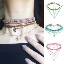 New Multi Colors Choker Necklace Pendant Leather Material Strap Jewelry VD146