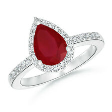 14K White Gold Halo Ring with Pear Shaped Ruby and Diamond Ring Size 3-13