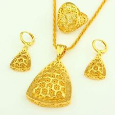 Women New Arrival Pendant Necklace Earring Ring Gold Color Jewelry Set