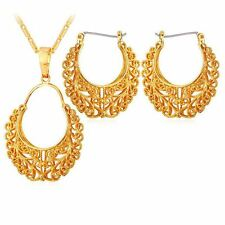 Vintage Earring Pendant Necklace Round Gold Color Jewelry Set For Women