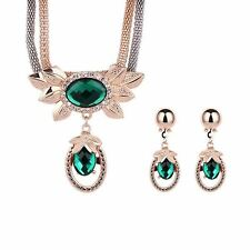Women Water Drop Crystal Material Necklace Earring Jewelry Set