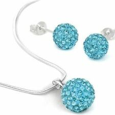 Women Mix Color Crystal Pendant Necklace Stud Earring Jewelry Set
