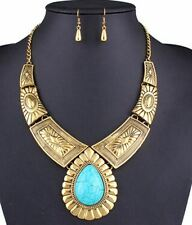 Women Fashionable Zinc Alloy Collar Necklace Earrings Jewelry Set
