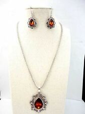 New Fashion Silver Color Pendant Earring Necklace Chain Jewelry Set for Women