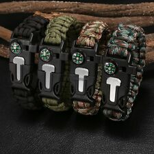 Rope Paracord Outdoor Survival Bracelet Flint Fire Starter Compass Whistle New