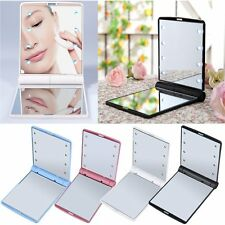 LED Make Up Mirror Cosmetic Mirror Folding Portable Compact Pocket Gift SW