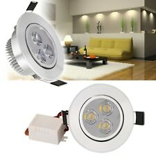 2017 New 9W 85-265V Warm/ Cool White Silver LED Ceiling Recessed Down Light SE