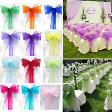 25/50/100Pcs Organza Sashes Chair Cover Bow Sash Wedding Banquet Party Decor