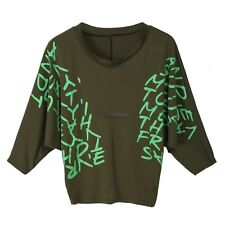 New Batwing Dolman Batwing Sleeve Letter Prints Tops Blouses T-Shirts Hot WT8802
