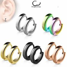PAIR of 2.5mm Wide Stainless Steel Dome Hoop Huggies 20g Earrings