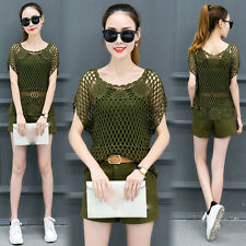 new summer Korean fashion temperament Lace short-sleeved shorts two-piece suit