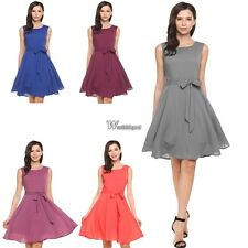 Women Summer Sleeveless Solid Belted Cocktail Party Pleated Dress WT8802
