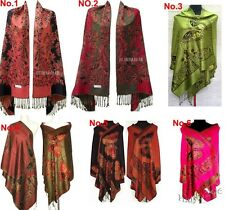 Hot 8 colour Double-Faced Chinese Women Pashmina Silk Wrap Shawl Scarf Butterfly