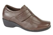 Ladies Mod Comfys Touch Fastening Leather Elasticated Shoes Brown Softie Leather