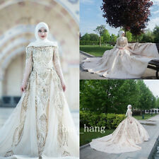 Sparkly Muslim Wedding Dress +Hijab Sequins Lace Gold Arabic Bridal Gown Sleeves