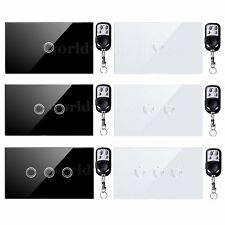 1/2/3Gang 1Way Smart Touch Light Switch Crystal Glass Panel +Remote Controller