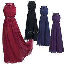 Hot Ladies Womens Dress Summer Halter Long Chiffon Bridesmaid Evening Prom Gown