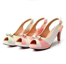 Womens candy Peep Toe sandals Bowtie Pumps Party High Heels Slingback Shoes Size