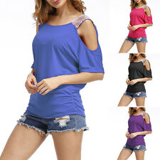 Refresh Women Summer Casual Round Neck Cold Shoulder Sequins Solid Tops Blouse