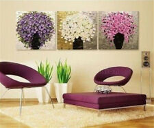 3Pcs Oil Painting Tree Home Decor Painting With Framed Modern Abstract Canvas