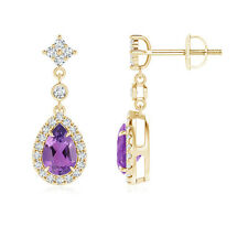 Pear Shape Natural Amethyst and Diamond Halo Drop Earrings 14k Yellow Gold