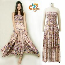 women summer Vintage 70s Hippie floral print ruffle boho beach MAXI tube DRESS