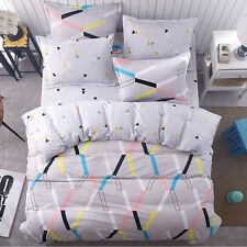 Gray Yellow Geometric Print Bedding Set Twin Full Queen King Size Duvet Cover