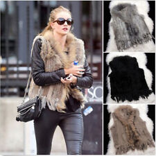100% Knitted Rabbit Tassel Fur With Raccoon Fur Collar Waistcoat Trim Vest V0154