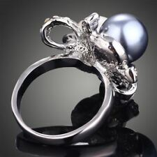 White Gold color New Fashion Flower Design Simulated Pearls Finger Ring