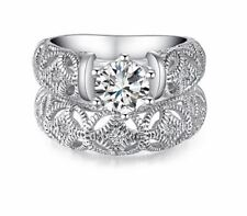 Women White Gold Color Zircon Style Wedding Ring Size 6 7 8