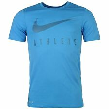 Nike Swoosh Athlete T-Shirt Mens Blue Sportswear Top Tee Shirt