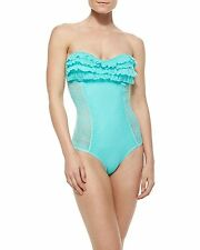 NWT $151 JUICY COUTURE PRIMA DONNA LACE RUFFLE BANDEAU MIO SWIMSUIT,SIZE XSMALL