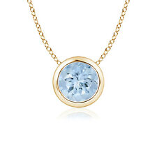 Solitaire Bezel Set Round Aquamarine Pendant Necklace 14K Yellow Gold Silver
