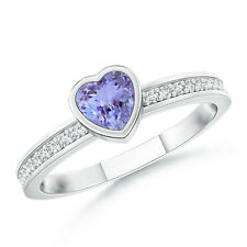 Natural Bezel Heart Tanzanite Promise Ring with Diamond 14K White Gold Size 3-13