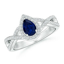 Natural Pear Blue Sapphire With Diamond Halo Ring 14K White Gold Size 3-13