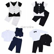 2Pcs Baby Boys Gentleman Romper Outfit Set Shorts Pants Jacket Suit Cotton Party