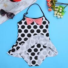Baby Kids Girl Halter One Piece Polka Dot Bikini Beachwear Swimsuit Bathing Suit