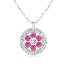 "Natural Pink Sapphire Flower Pendant Necklace with Diamond 14k Gold 18"" Chain"