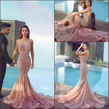 Sequins Rhinestones Beaded Evening Mermaid Prom Dresses Sparkly Party Gown Sheer