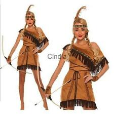 Woman Wild West Native American Indian Princess Adult Fancy Dress Costume Outfit