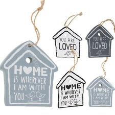 House Shape Birds Rustic Wood Hanging Sign Home Wooden Wall Plaque Decoration