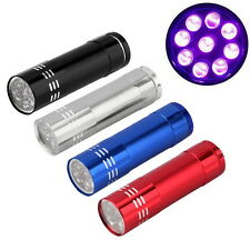 Mini Aluminum UV ULTRA VIOLET 9 LED FLASHLIGHT BLACKLIGHT Torch Light Lamp SR